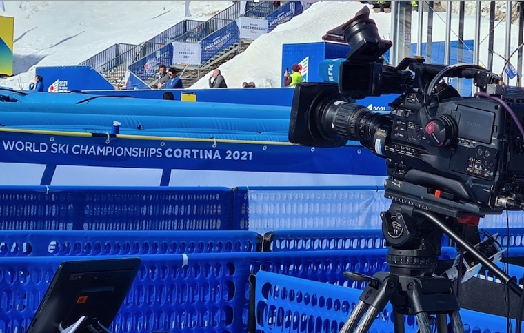 Kameraposition in der Mixed Zone der Alpinen Ski WM 2021 in Cortina